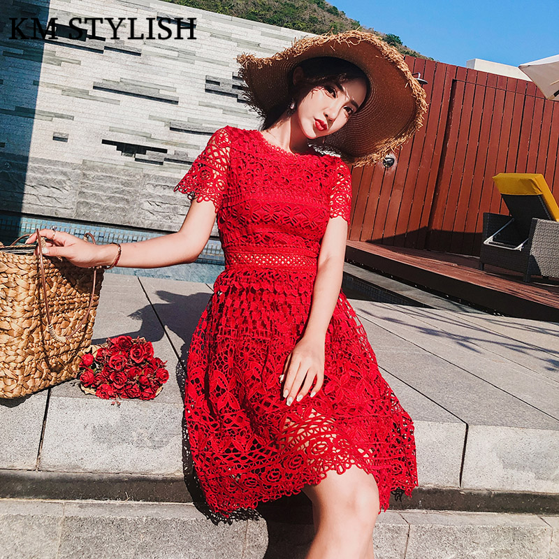 2018 New Hollow Out Short Sleeve Red Lace Dress Female Summer Fashion A Line Dress