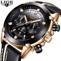 2018 New LIGE Mens Watches Top Brand Luxury Men's Military Sports Watch Men's Waterproof Leather Quartz Watch Relogio Masculino