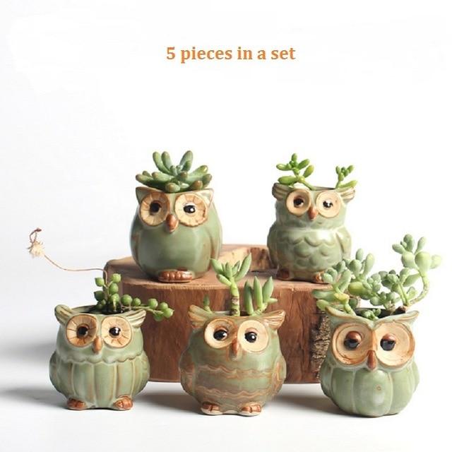 5 db / szett Cartoon bagoly alakú virágcserép, zamatos ültetvényekkel Húsos növények Kis kerámia váza Otthon / kert