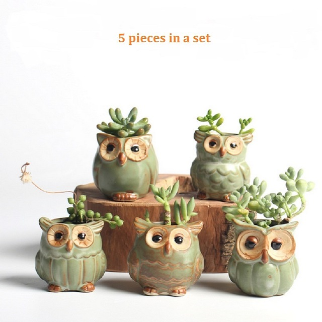 5 ком / сет Цртани лонац у облику сова у облику сова Суццулент Плантерс Меснате биљке Мала керамика ваза Хоме / Гарден