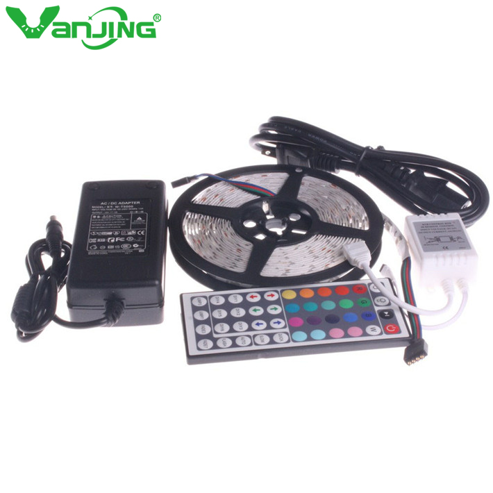 5050 RGB LED Strip 5M 300 Led SMD 44 Keys IR Remote Controller 12V 6A Power Adapter Supply Flexible Light Diode Tape Ribbon