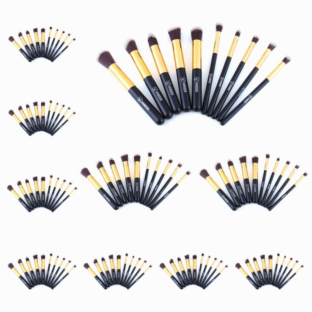 (Wholesale) 10 Sets / 10pcs Makeup Blushes Kits Kabuki Cosmetics Make Up Tools For Powder Foundation Eyeshadow Eyeliner Soft