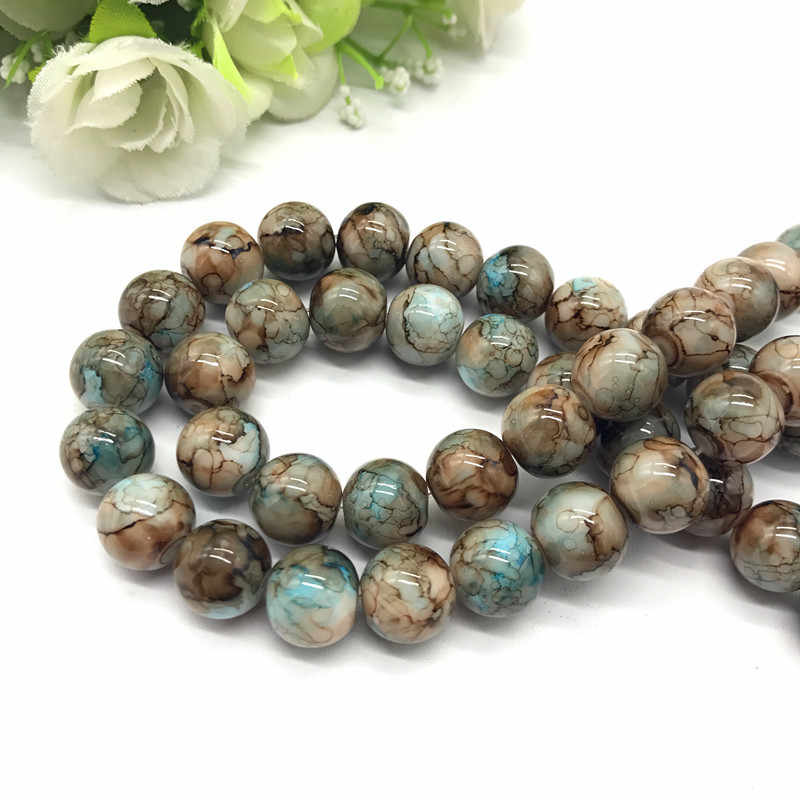 Wholesale 6 8 10mm pattern glass bead spacer jewelry Bulk Beads For DIY Making Bracelet Necklace Jewelry #03