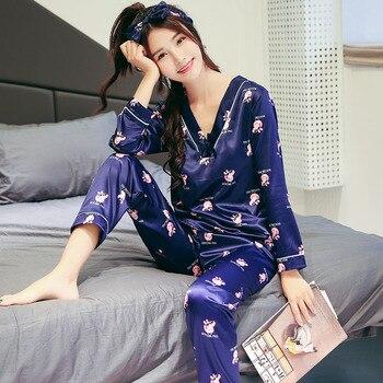 d3d64e380aab Женские шелковые пижамы пижамный комплект с длинным рукавом пижамы Pijama  костюм женский сна комплект из двух предметов Loungewear плюс размеры