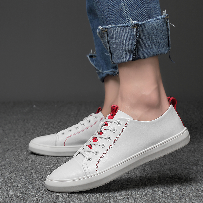 2019 new men 39 s casual shoes leather breathable comfortable black amp white platform shoes for men young students fashion shoe man in Men 39 s Casual Shoes from Shoes