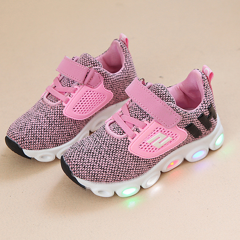 2017 autumn new children's running shoes non-slip casual shoes boys and girls lights net shoes breathable student shoes