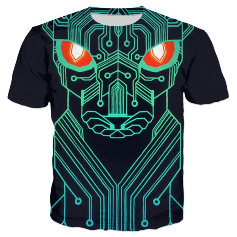 Hot Sale 2018 New Arrival Robot Wolf Circuit 3d T Shirt Super Saiyan Short For Sleeve Men Fashion Funny Tee Shits Tops Dropship