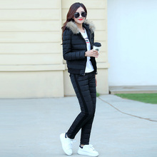 Women jacket Set 2017 Women Casual Tracksuits Two Piece Women Sets Thicker cotton Down jacket Women s66