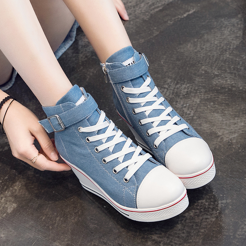 Image 4 - 2018 New Fashion Women High Top Canvas Sneakers Wedges Shoes Womens Denim Ankle Lace Up Ladies Ankle Canvas Shoes WomanWomens Vulcanize Shoes   -