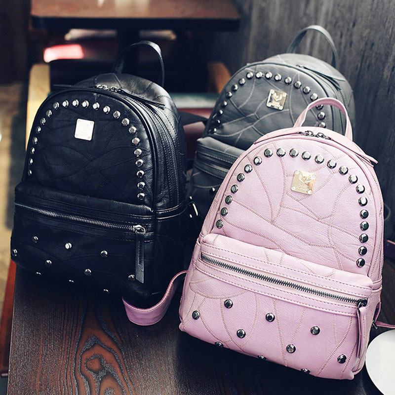 school bag 2017 high quality black backpacks for women rivet Pu leather women bag free shipping