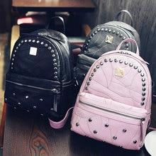 Школьная сумка 2017 Высокое качество черные рюкзаки для женщин из искусственной кожи с заклепками женские сумочки бесплатная доставка