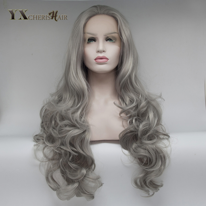 YXCHERISHAIR 18-24inch Long Synthetic Lace Front Grey Wigs for African American Women Cosplay Party Curly Wigs Heat Resistant