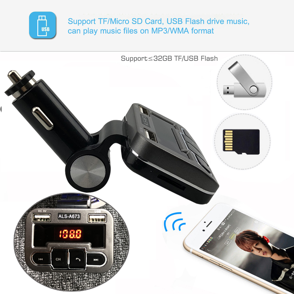 Jinserta Fm Transmitter Aux Modulator Bluetooth Handsfree Car Kit Dc 5v Micro Usb Power Supply Hands Free Lcd Screen Mp3 Audio Player Dual Charger Tf U Disk A673 In Transmitters From