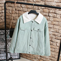 3XL Plus Size Women Winter Jackets Casual Turn-down Collar Warm Thick Single Breasted Corduroy Jacket Outerwear KK2186