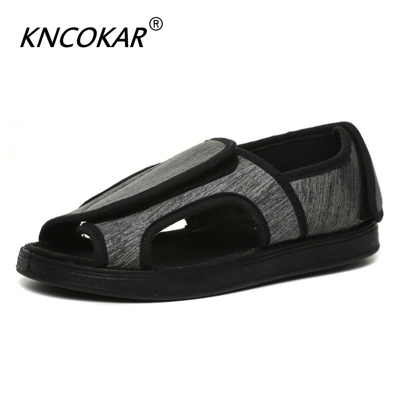 KNCOKAR Middle And Old People Widen Adjustable Sandal Feet Swelling Wide Fat Thumb Deformation Diabetes Widen