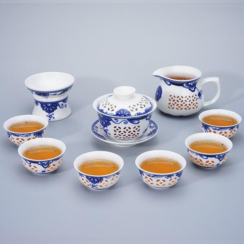 Ensemble de thé exquis en nid d'abeille 1 Gaiwan 6 tasses théière bleu et blanc bouilloires tasse à thé porcelaine chinois kung fu ensemble de thé drinkware