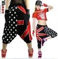 New union Jack moda Polka dot Harem Hip Hop Danza Pantalones sueltos Pantalones casuales pantalones de jazz desgaste del funcionamiento Trajes de la etapa