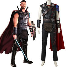 Superhero Thor Odinson Costume Cosplay Thor Ragnarok Cosplay Movie Supereroe Vestiti Thor 3 Vestito di Halloween Mantello Adulto Uomini Wit(China)