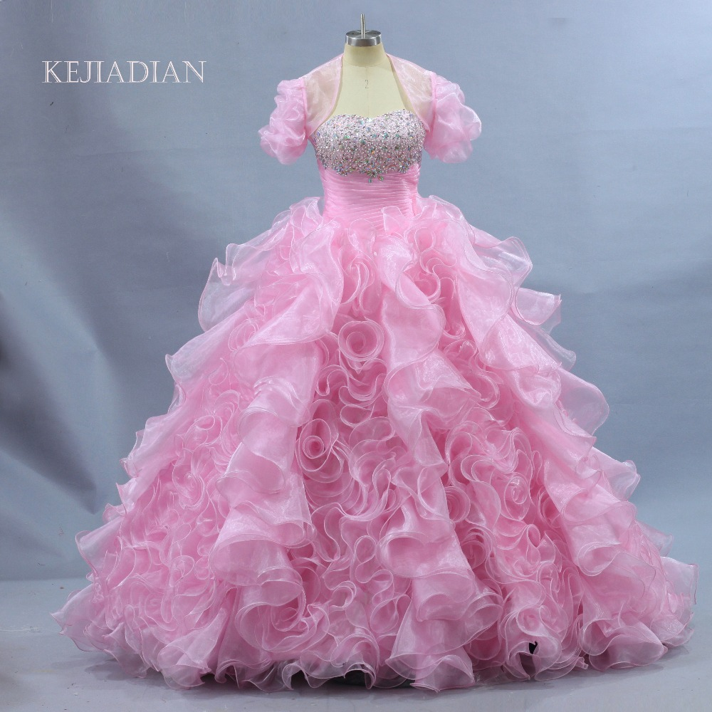 2018 Quinceanera Dresses With Bolero Sweet 16 Organza ruffles Beads ...