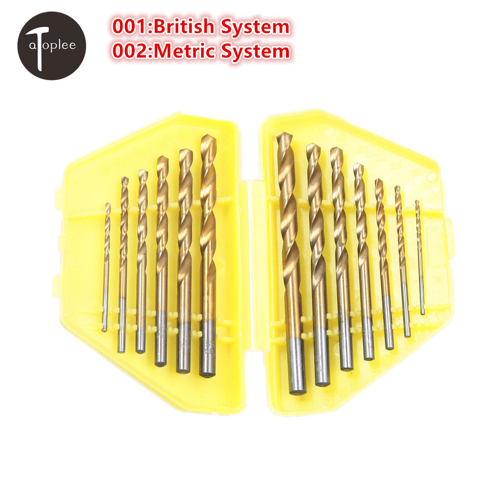 Hot 13PCS HSS-Ti Twist Drill Set British/Metric Quick Change Straight Shank Auger Twist Drill Bits Set Butterfly Box 13pcs lot hss high speed steel drill bit set 1 4 hex shank 1 5 6 5mm free shipping hss twist drill bits set for power tools
