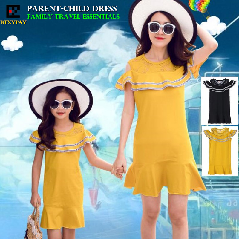 100p Summer Mother&Daughter Parent-child Dress Kids Girl Family Matching Outfits Women Hollow Flounced Beach Dress Lace Dresses
