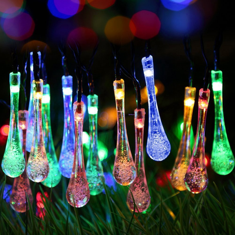 Solar Powered Fairy Waterproof String Lights Water Drop Lamp Garden Patio Yard Home Christmas Tree Parties Festival Home Decor