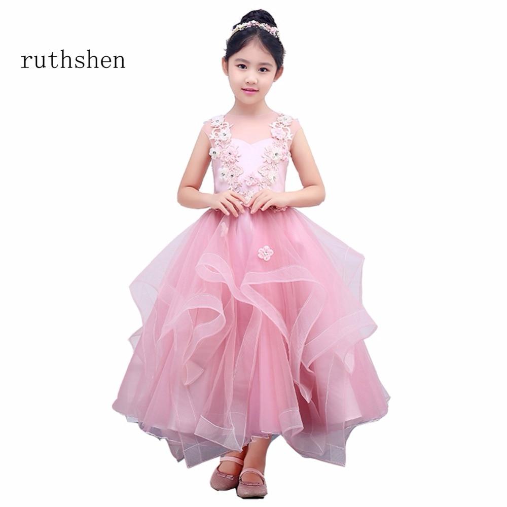 ruthshen A Line Real Photos Beautiful   Flower     Girl     Dress   Cute Zipper Back Kids Pageant Children   Dress   Sweetheart Neck Party   Dress