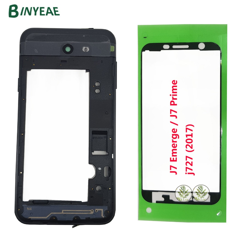 BINYEAE New For Samsung Galaxy J7 Emerge / J7 Prime j727 2017 Black Middle Frame Housing Bezel+Camera lens +Key+Adhesive