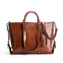 New Famous Brand Design Women's Bag Handbag Luxury Oil wax Cow Leather Shoulder Bag OL Ladies Big Bags Large Capacity