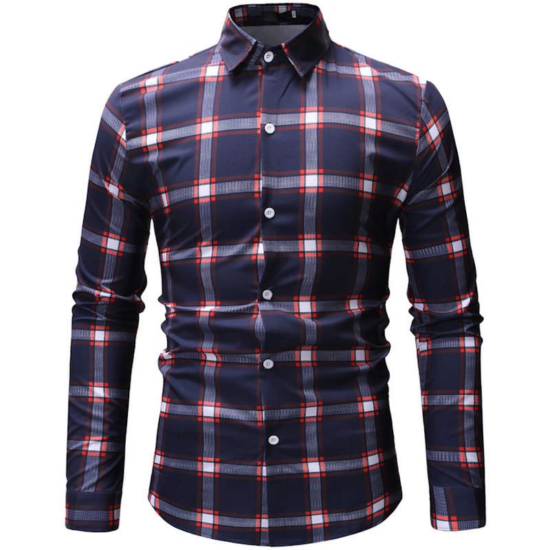 2019 Summer New Men's Long Sleeve Beach Hawaiian Shirt Cotton Casual Plaid Shirt + 3XL Men's Fashion Clothing 26 Color