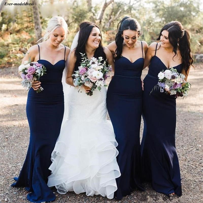 Navy Blue Mermaid Long   Bridesmaid     Dresses   2019 Spaghetti Straps Zipper Back Bohemian Summer Beach Wedding Party Gown Custom Made