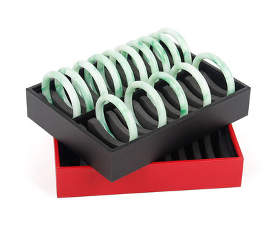 TONVIC Red/Black Leatherette Bangle Display Tray Jewelry Holder Showcase For 20 Pcs