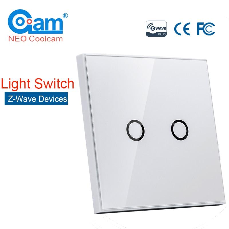 NEO COOLCAM NAS-SC01Z Z-wave Plus Wall Light Switch 2CH Gang Home Automation Z Wave Wireless Smart Remote Control Light Switch выключатель z light 0165 gold