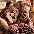 Amantes dos desenhos animados outono e inverno coral fleece sleepwear masculino flanela stripe da longo-luva Das Mulheres com um capuz set lounge