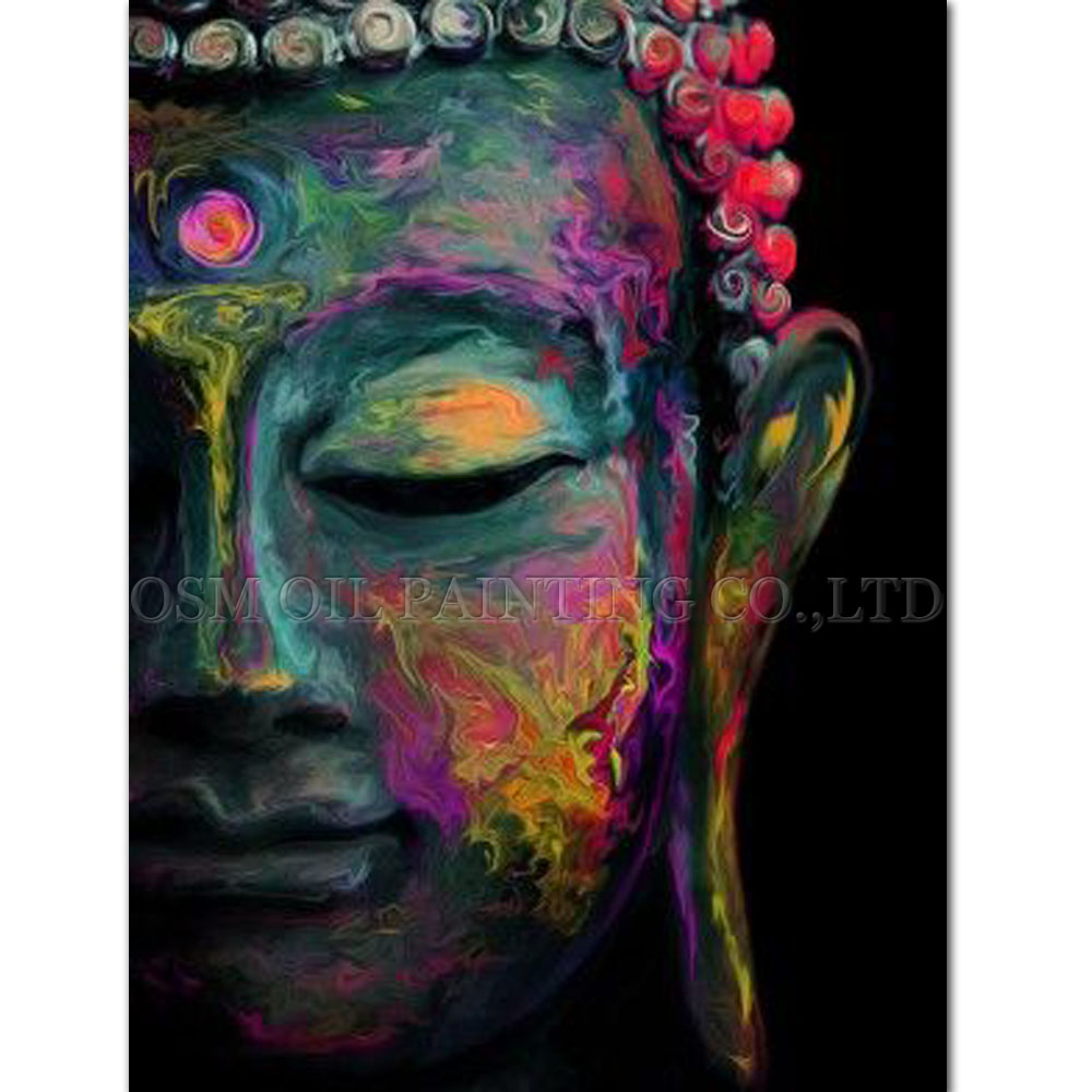 Skilled Artist Handmade High Quality Modern Buddha Oil Painting On Canvas Beautiful Portrat Buddha Oil Painting For Living Room