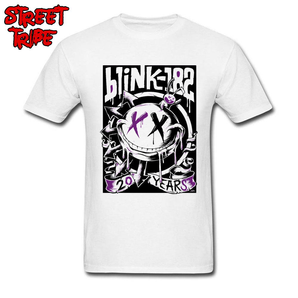 <font><b>Blink</b></font> <font><b>182</b></font> T-<font><b>shirt</b></font> Men Cool T <font><b>Shirt</b></font> Punk Band Tshirt Custom Mens Fashion Clothing Cartoon Graffiti Tops Tees Cotton Fabric White image