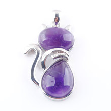 Lovely Kitty Cat Animal Pendant for Girl Gift Chakras Natural Amethysts Gem Stone Bead Silver Pendant Jewelry 1PCS TN3565 equte spew23c3 lovely kitty cat s eye pendant necklace golden white 30