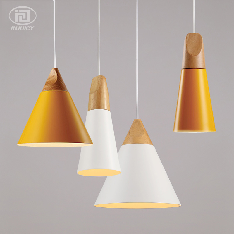 Modern Simple LED Pendant Lights Aluminum Colorful Lampshade Wooden Hanging Lamp Restaurant Bar Coffee Shop Ceiling Lamp DecorModern Simple LED Pendant Lights Aluminum Colorful Lampshade Wooden Hanging Lamp Restaurant Bar Coffee Shop Ceiling Lamp Decor