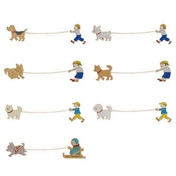 Парная брошка с цепочкой Хозяин и собака