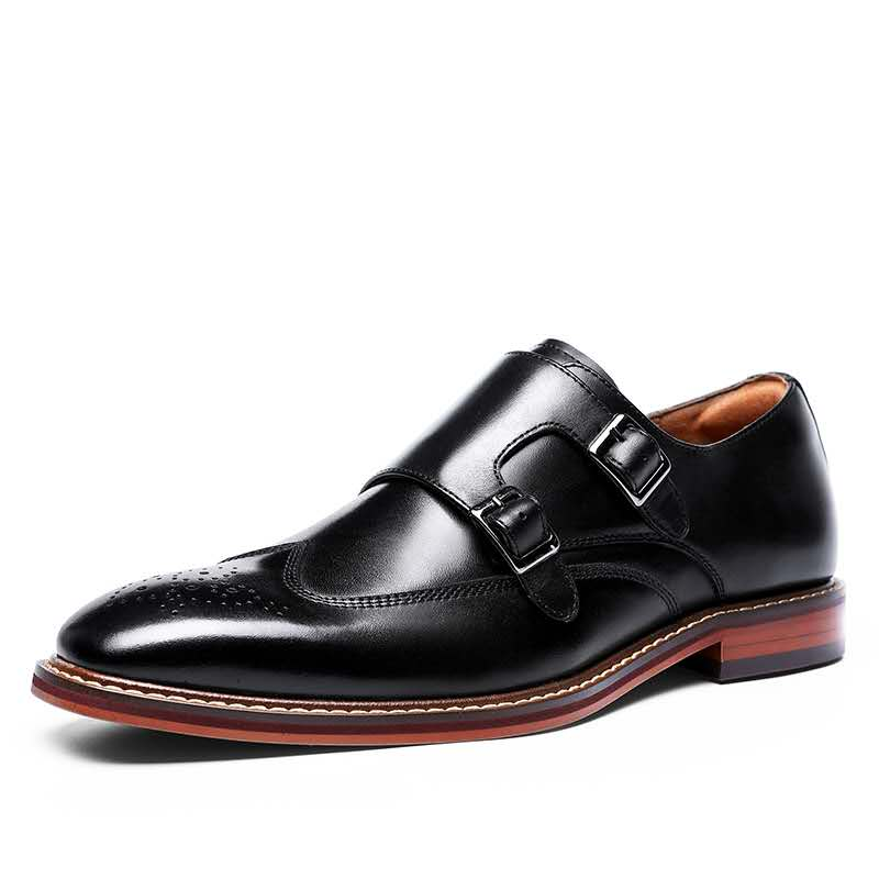 DESAI Double Monk Strap Slip on Loafer Leather Business Handmade Dress Shoes for Men