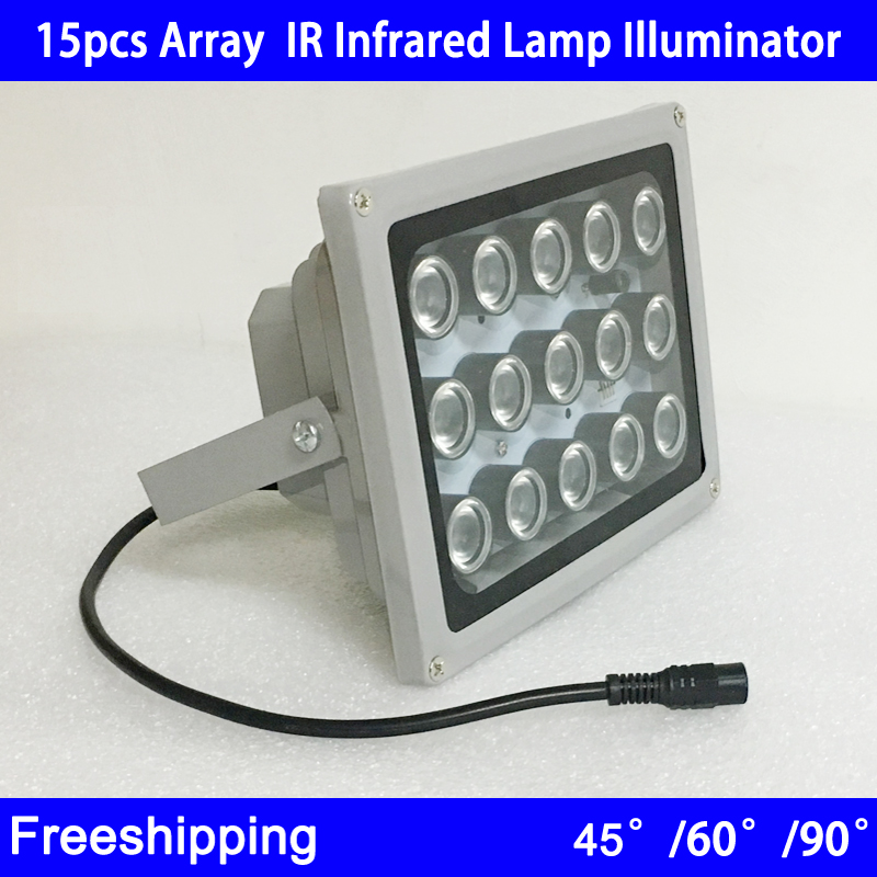 Metal Shell Waterproof Outdoor Surveillance 15pcs 42mil Array leds White/Infrared Night Vision IR illuminator Lamp Free Shipping