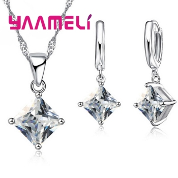 New Arrival 925 Sterling Silver Women Accessories Earrings Jewelry Set With Shiny Square Shinny CZ Necklace Earrings 1
