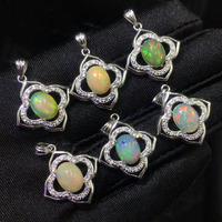 New 925 Silver Jewelry Multiple Color Women Natural Pendant Oval 7x9mm Real Natural Opal Pendant Silver Pendant without Chain