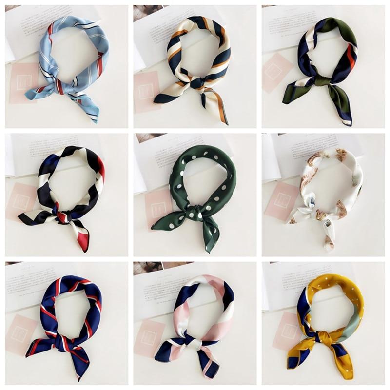 Women Square Scarf Elegant Floral Head Wraps Stripe Bandana Soft Neckerchief Professional Elegant Neck Hair Tie Band Scarves