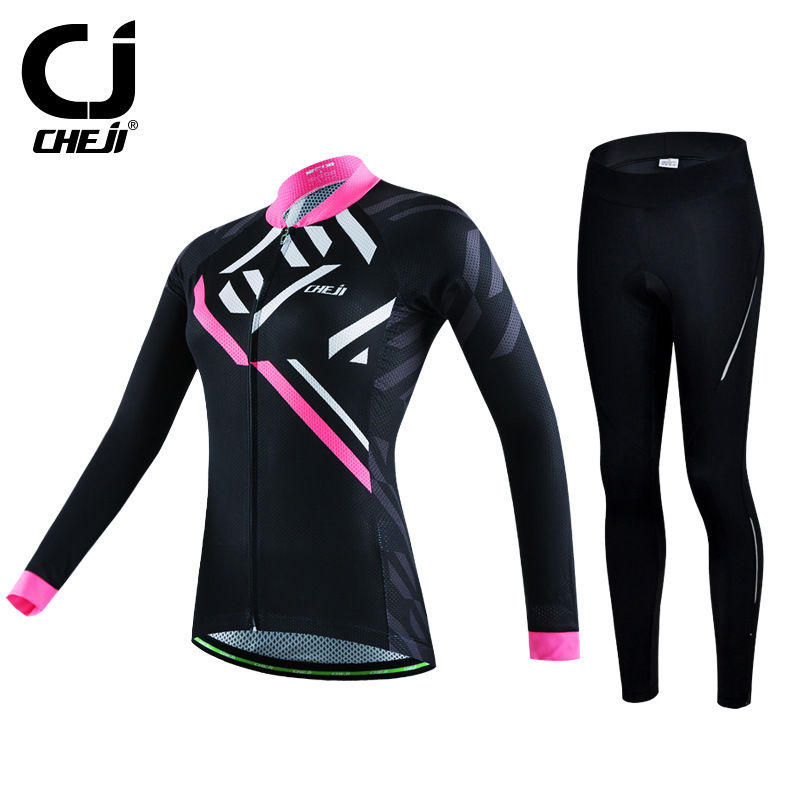 Spring Reflective CHEJI Ladies Cycling Jerseys Set Long Sleeve Cycling Bike Shirts & MTB Padded Pants / Tights Padded For Women new brand phantom bike bicycle cycling jerseys short set sports t shirts gel padded tights for men