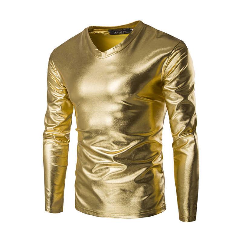 Camiseta reflectante de moda para hombre de manga larga ropa de escenario brillante oro plata hip hop danza ropa de escenario ajustado casual z15