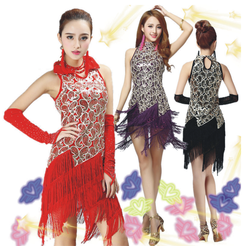 2017 ballroom dancewear salsa latin dance dress ladies women red black flamengo Sequin Fringe Tassel Skirt dresses tango Sexy