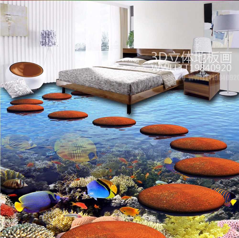 Free Shipping Coral Tropical Fish 3D stereo Floor Painting living room kitchen walkway corridor floor wallpaper mural