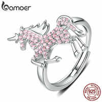 bamoer Licorne Moon Horse Free Size Rings for Women 925 Sterling Silver Femme Pegasus Design Wedding Engagement Jewelry SCR557