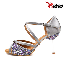 2016 Sexy Evkoodance Brand Black And Silver Color Woman Latin Dance Shoes Comfortable Leather Sole Indoor Latin Shoes Evkoo-010